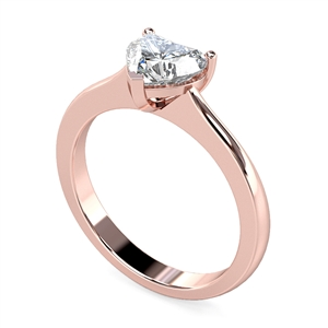 18ct Rose Gold Heart Shape Diamond Solitaire Engagement Rings