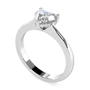 18ct White Gold Heart Shape Diamond Solitaire Engagement Rings