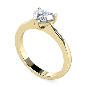18ct Yellow Gold Heart Shape Diamond Solitaire Engagement Rings