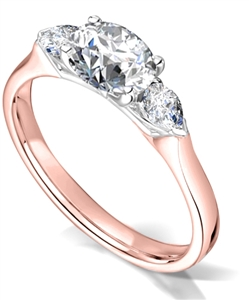 18ct Rose Gold Oval Cut Diamond Trilogy Engagement Rings