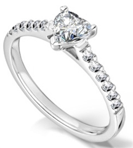 Image for Traditional Heart Diamond Shoulder Set Ring