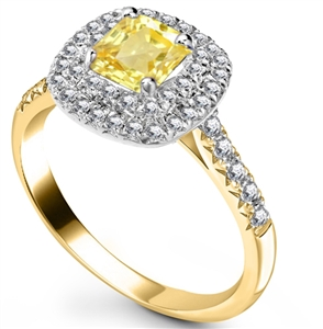 18ct Yellow Gold Cushion Cut Engagement Rings