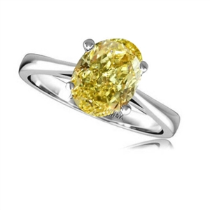 Image for Fancy Yellow Oval Diamond Solitaire Ring