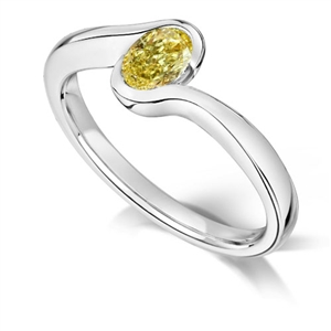 Image for Fancy Yellow Oval Diamond Halo Shoulder Set Ring
