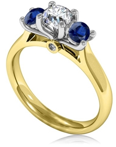 Image for Modern Round Diamond & Blue Sapphire Trilogy Ring