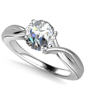 Image for Modern Intertwined Round Diamond Engagement Ring