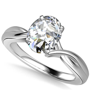 Palladium Oval Cut Solitaire Engagement Rings