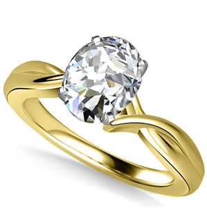 18ct Yellow Gold Oval Cut Solitaire Engagement Rings
