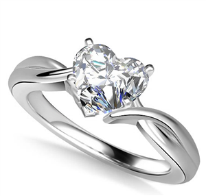 Platinum Heart Shape Diamond Solitaire Engagement Rings