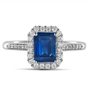 Emerald Cut Blue Sapphire Engagement Rings