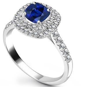 Image for Cushion Blue Sapphire & Diamond Halo Ring
