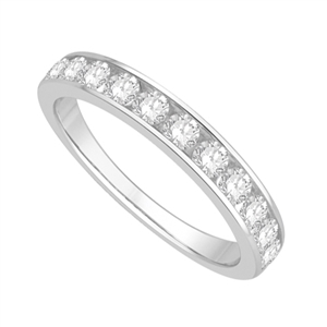 Round Diamond Half Channel Eternity Rings