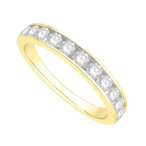 18ct Yellow Gold Round Diamond Half Channel Eternity Rings