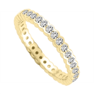 18ct Yellow Gold Round Diamond Full Prong Eternity Rings