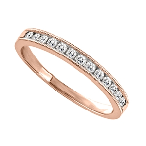 18ct Rose Gold Round Diamond Half Channel Eternity Rings