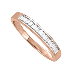 18ct Rose Gold Emerald Cut Half Channel Eternity Rings