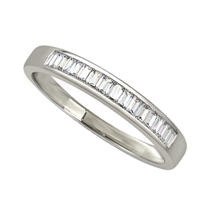 18ct White Gold Emerald Cut Half Channel Eternity Rings