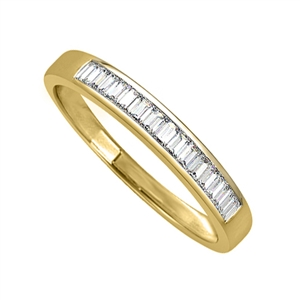 18ct Yellow Gold Emerald Cut Half Channel Eternity Rings