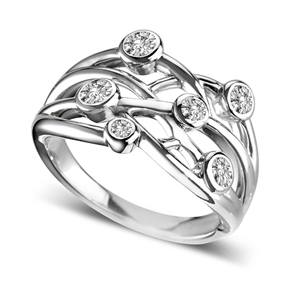 Image for Criss Cross Round Diamond Bubble Dress Ring