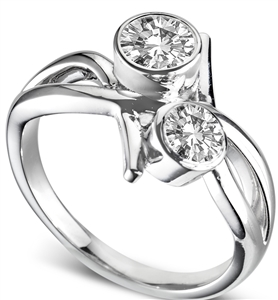 Image for Modern Round Diamond Bubble Infinity Ring