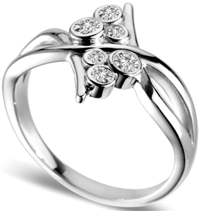 Image for Elegant Round Diamond Bubble Infinity Ring