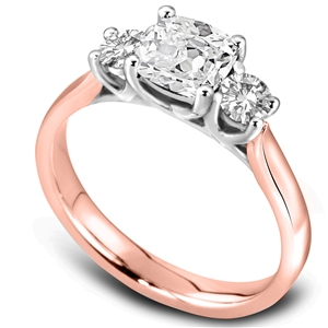 Image for Modern Cushion & Round Diamond Trilogy Ring