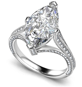 18ct White Gold Marquise Cut Vintage Engagement Rings