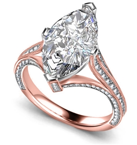 18ct Rose Gold Marquise Diamond Engagement Rings