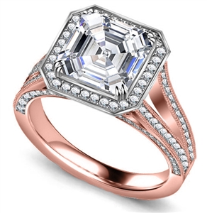 18ct Rose Gold Asscher Cut Vintage Engagement Rings