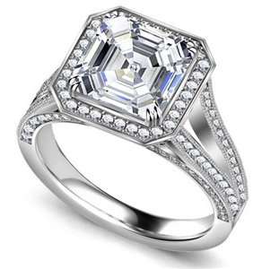18ct White Gold Asscher Cut Vintage Engagement Rings