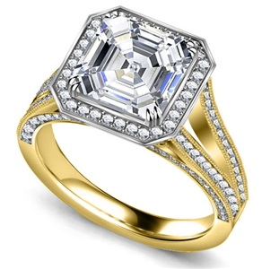 18ct Yellow Gold Asscher Cut Vintage Engagement Rings