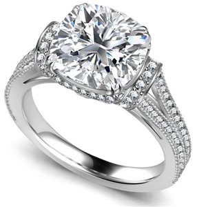 18ct White Gold Cushion Cut Vintage Engagement Rings