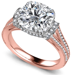 18ct Rose Gold Cushion Cut Vintage Engagement Rings