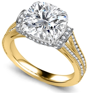 18ct Yellow Gold Cushion Cut Vintage Engagement Rings