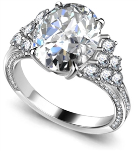 Palladium Oval Shape Vintage Engagement Rings