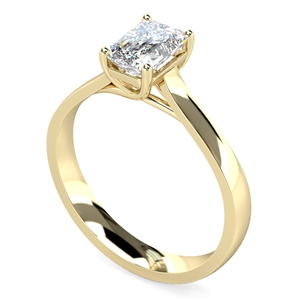 18ct Yellow Gold Emerald Cut Diamond Solitaire Engagement Rings