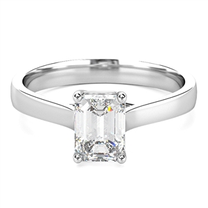 18ct White Gold Emerald Cut Diamond Solitaire Engagement Rings