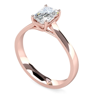 18ct Rose Gold Emerald Cut Diamond Solitaire Engagement Rings