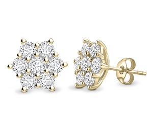 18ct Yellow Gold Round Diamond Cluster Earrings