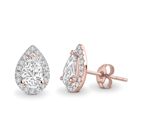 18ct Rose Gold Pear Shaped  Diamond Earrings