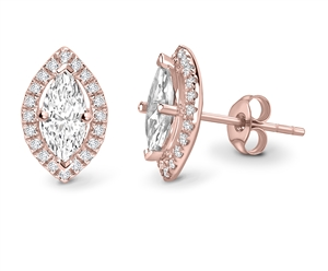 Marquise 18ct Rose Gold Diamond Earrings