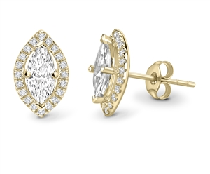 18ct Yellow Gold Marquise Diamond Earrings