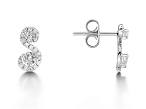 Image for Swirling Round Diamond Designer Earrings