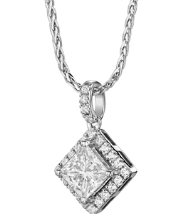 Image for Princess Diamond Single Halo Pendant