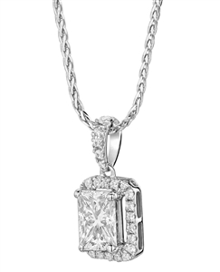Image for Emerald Diamond Single Halo Pendant