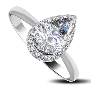 Image for Pear & Round Diamond Halo Ring