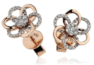 Image for Round Diamond Designer Flower Earrings