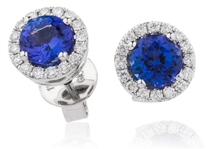 Platinum Round Gemstone & Diamond Earrings