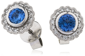 Image for Round Blue Sapphire & Diamond Cluster Earrings