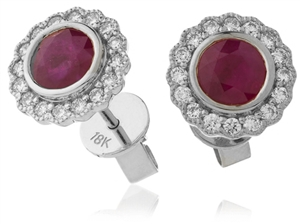 Image for 1.50CT Round Ruby & Diamond Cluster Earrings